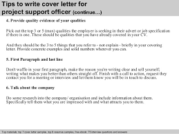 project support officer cover letter