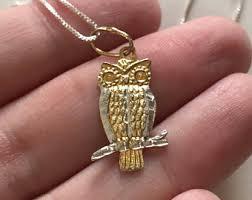 vintage owl pendant necklace images Vintage owl pendant etsy jpg