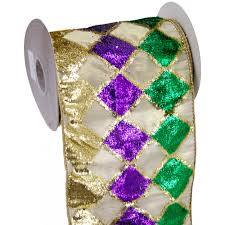 mardi gras ribbon velvet diamond mardi gras ribbon 6 x 5 yards