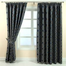 Jacquard Curtain Pencil Pleat Jacquard Curtains Modern Wave Fully Lined Blue Cream