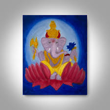 ganesha oil painting 20 x16 canvas painting wall art home
