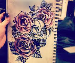 savannahmartinaa rose and skull tattoo design via