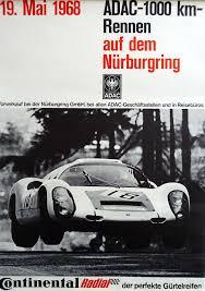 porsche poster 1968 adac 1000 km race original vintage poster
