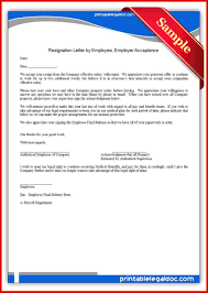 best of acceptance of resignation letter from employer mailing