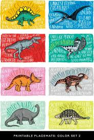 fun fact placemats dinosaurs caravan shoppe