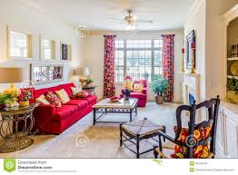 Red Sofas In Living Room by Red Sofa In Decorated Den Stock Photo Image 55764234