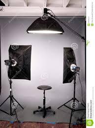 photography studio lighting background setup grey stock