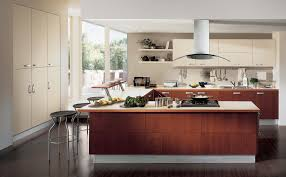 design excellent modern marble countertops wooden kitchen island excellent modern marble countertops wooden kitchen island u shape design modern cabinet wall open shelving fry pan on the stove stainless steel range hood
