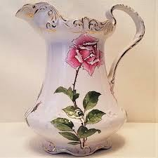 pitcher of roses vintage ceramic pitcher with roses by w h tatler decorating company