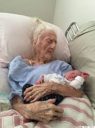 image of 101 year old with baby sparks unbelievable response