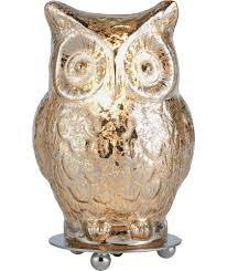 buy heart of house silva glass owl table lamp silver at argos co