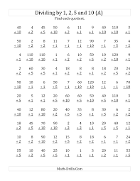 Division Worksheets Grade 4 Dividing By 1 2 5 And 10 Quotients 1 To 12 A
