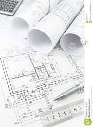 architectural plan and tools stock image image 39324879