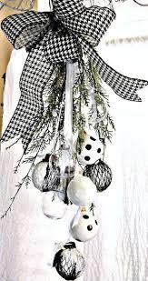 black and white ornament swag white ornaments