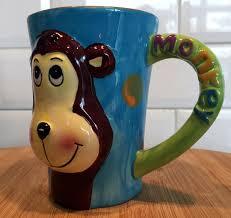 large colourful ceramic animal mug with 3d face monkey
