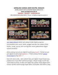 Jadwal Sholat Jogja Katalog Harga Jual Jam Digital Masjid