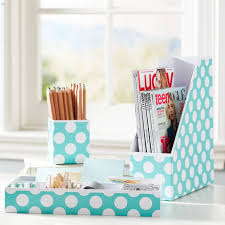 Blue Desk Accessories Printed Paper Desk Accessories Set Pool Dottie Pbteen