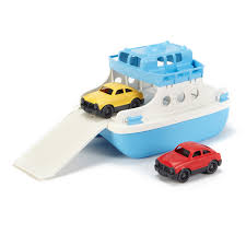 green toys ferry boat with mini cars bath toy blue white