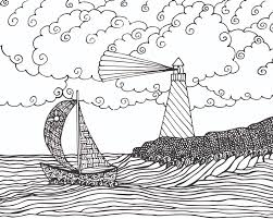 free seascape coloring page for adults free printable coloring