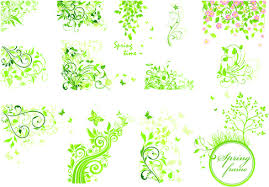 floral green ornaments vector set free vector in encapsulated