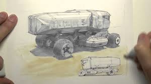 copic marker rendering sci fi truck youtube