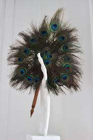 peacock feather fan vintage tri peacock feather fan