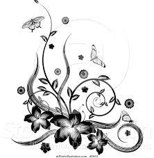 vector illustration of a black and white floral vine corner design