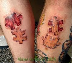 shin tatoos puzzle pieces best friend tattoos on was on the side of the calf