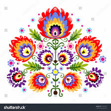traditional design folk embroidery flowers polish traditional folk stock vector