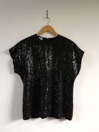 shell blouse vintage sequined top sequined blouse sequin embellished shell