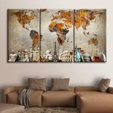 Canvas Map Of The World by World Map Masterpiece Multi Panel Canvas Wall Art U2013 Elephantstock