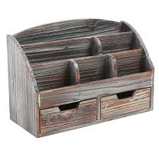 Wicker Desk Accessories by Amazon Com Mygift Distressed Wood Desk Organizer 6 Compartment