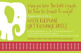 white elephant christmas party invitations personalized photo