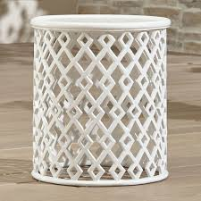 Small Metal Patio Side Tables Lattice Diamond Small Side Table Crate And Barrel