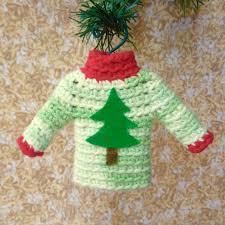 tiny sweater ornament miniature crocheted sweater