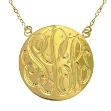 Monogram Disc Necklace Fancy Script Monogram Cz Necklace Be Monogrammed