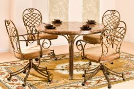 Kitchen Table With Caster Chairs Allegra Round Table U0026 4 Caster Chairs
