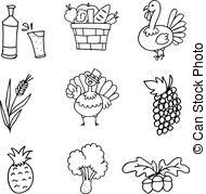doodle of han draw vegetable thanksgiving vector vector clipart