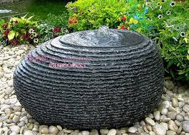 outdoor garden patio water feature carved black granite water