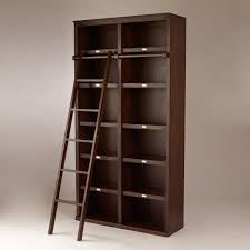 Tall Bookcase With Ladder by Dark Brown Stained Pine Wood Bookcase Divider With Simple Ladder