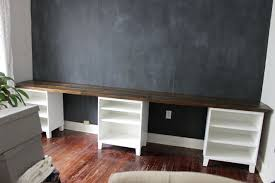 Furniture Unpolished Oak Wood Computer Desk Placed On Light Gray by Diy Computer Desk Ideas Space Saving Awesome Picture Double