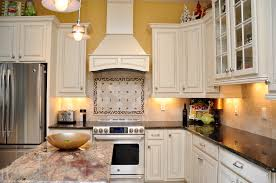 Florida Tile Grandeur Nature by White Cabinets Dark Granite Stainless Steel Appliances Custom