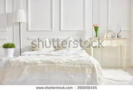 bedroom soft light colors big comfortable stock photo 358050455