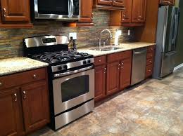 Slate Backsplash In Kitchen by New Kitchen With Merrillat Cherry Stained Maple Wood Cabinets