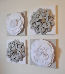 White Flower Wall Decor Wall Decor Set Of Four Gray And White Flower Wall Hangings 12