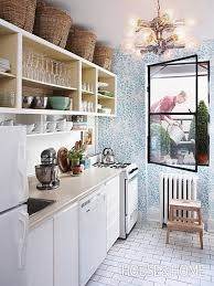 kitchen updates ideas kitchen update ideas blue white wallpaper apartment therapy