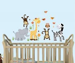 Jungle Wall Decal For Nursery Mini Jungle Animal Wall Decals Are Above A Nursery Crib