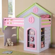 bedroom pink girls loft bed with slide and swing set for kids