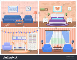 rooms interiors vector furniture living room stock vector