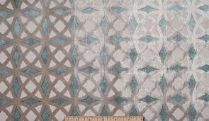Geometric Fabrics Upholstery Designer Cordova Retro Geometric Cut Velvet Upholstery Fabric Aqua